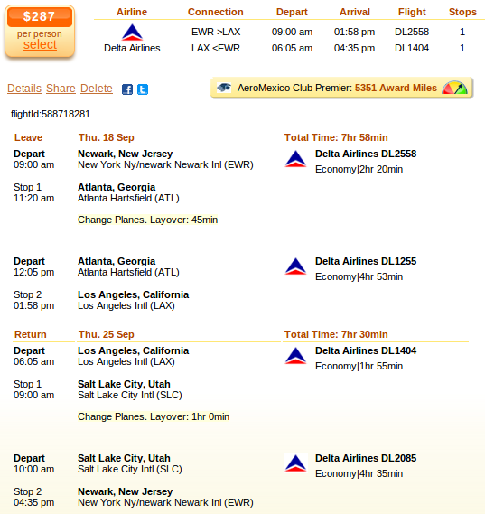 Newark to LA airfare details