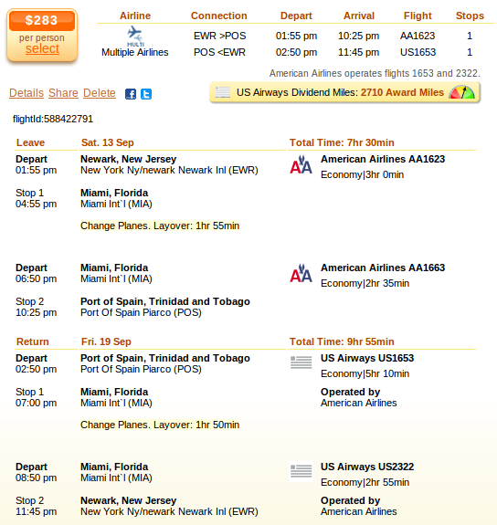 Newark to Port of Spain airfare