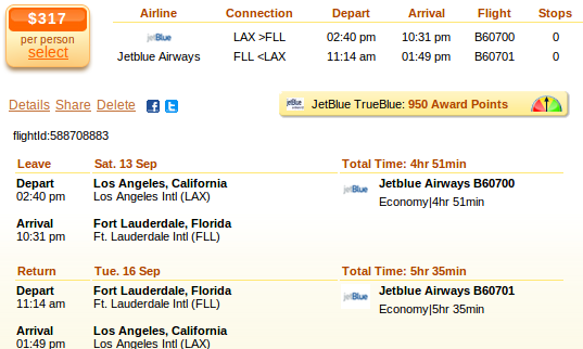 LA to Fort Lauderdale airfare