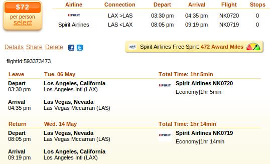 Airfare details: LA to Las Vegas