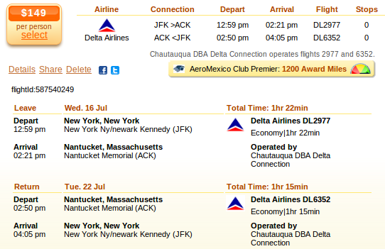 New York City to Nantucket airfare details