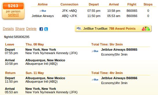 New York to Albuquerque airfare details