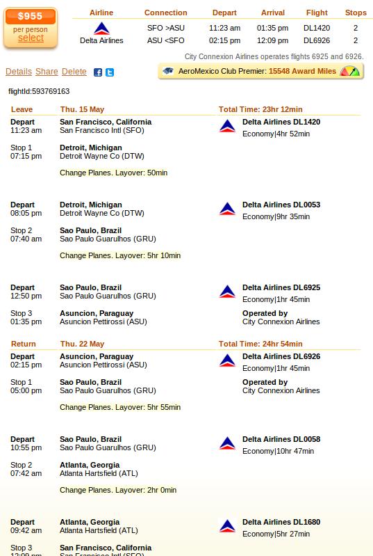 Flight details: San Francisco to Asuncion