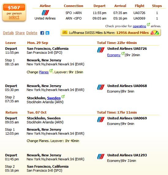 San Francisco flight to Stockholm