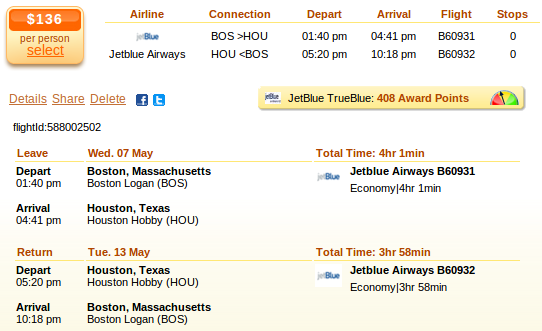 Boston to Houston airfare details