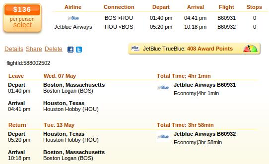 Boston to Houston airfare details