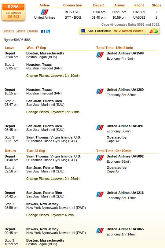 Flight from Boston to St. Thomas