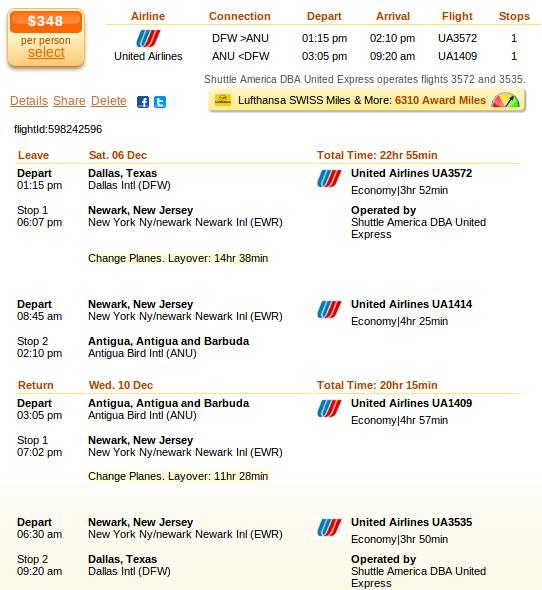 Dallas to Antigua flight details