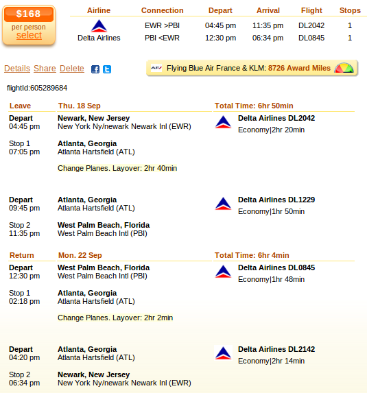 Airfare details: Newark to Fort lauderdale