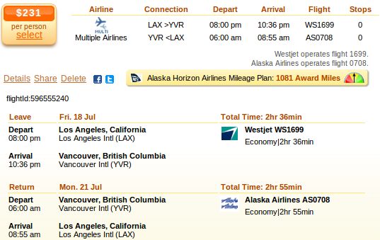 Los Angeles to Vancouver flight details