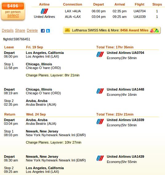 LA to Aruba airfare details
