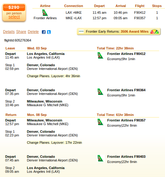 Los Angeles to Milwaukee flight details
