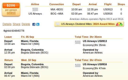 Miami to Bogota flight details