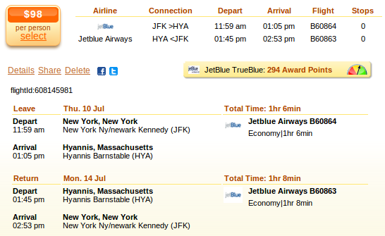 New York City to Hyannis flight details