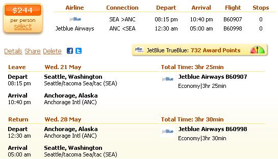 Seattle to Anchorage - flight details