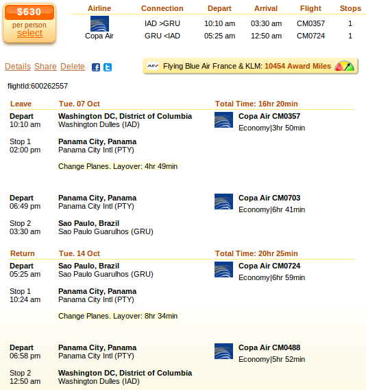 Washington to Sao Paulo flight details