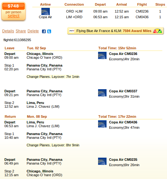 Chicago to Lima airfare details