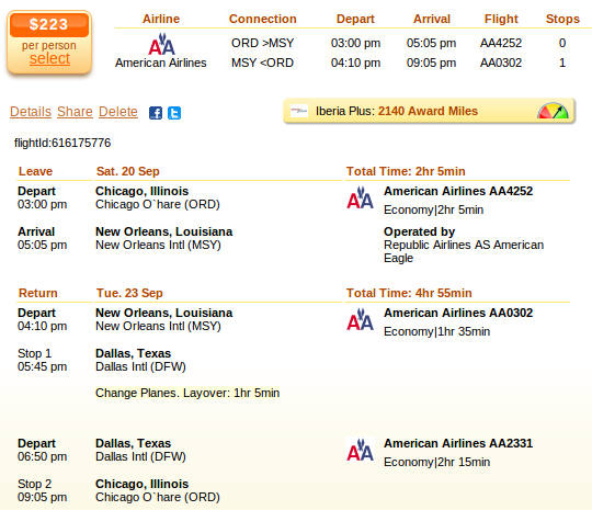 Chicago to New Orleans flight details
