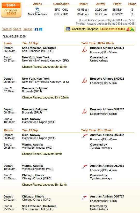 Flight details: San Francisco to Oslo