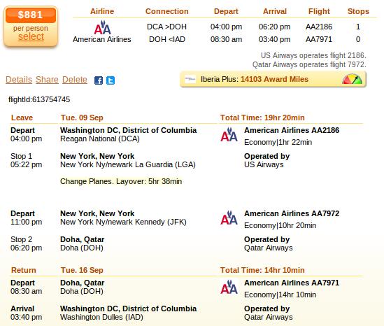 Washington to Doha - airfare details