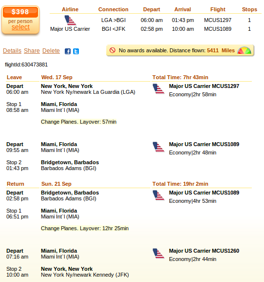 Airfare details: New York to Barbados