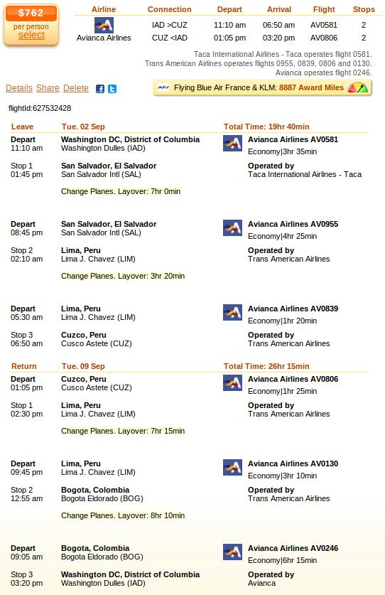 Airfare details - Washington to Cuzco