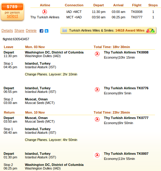 Washington to Muscat airfare details