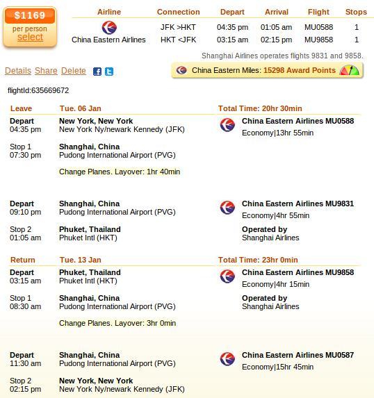 New York to Phuket - airfare deal