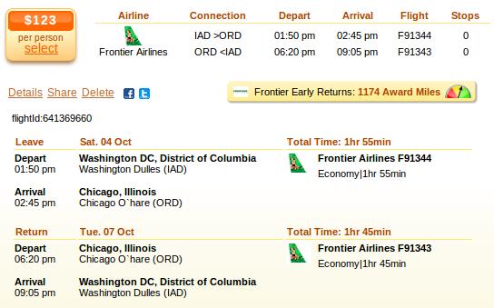 Washington to Chicago flight deal