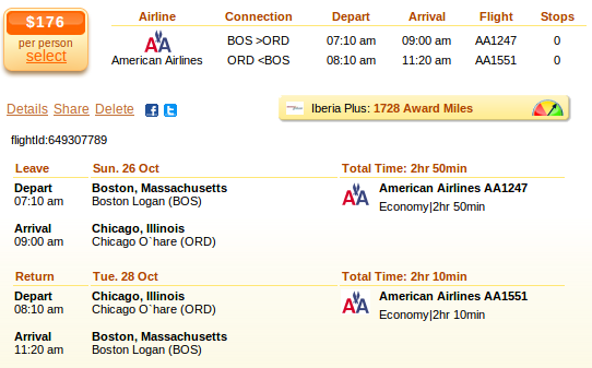 Airfare deal details - Boston to Chicago