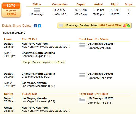 Flight deal screenshot - New York to Las Vegas