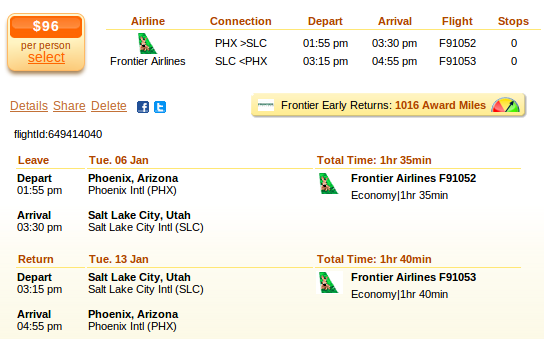 Phoenix to Salt Lake City airfare deal