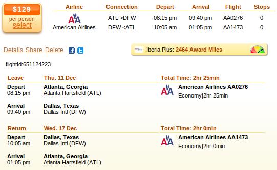 Flight deal from Atlanta to Dallas