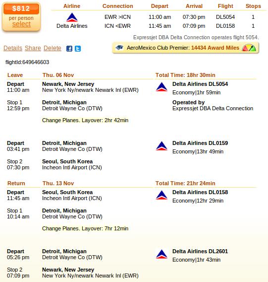 Newark to Seoul airfare deal