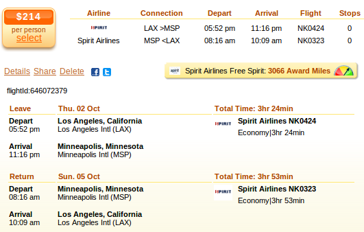 Airfare deal detials - Los Angeles to Minneapolis