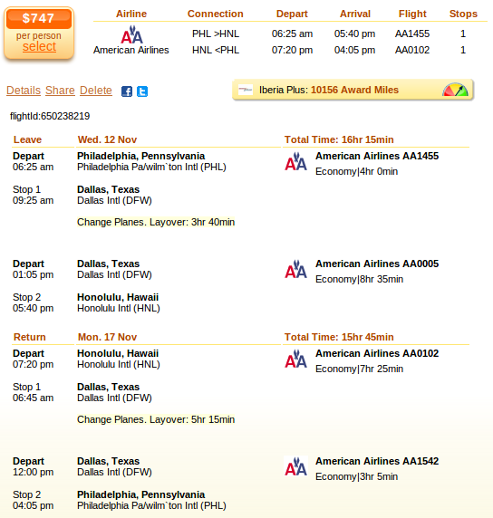 Flight deal details - Philadelphia to Kauai