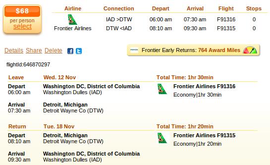 Airfare deal details - Washington to Detroit