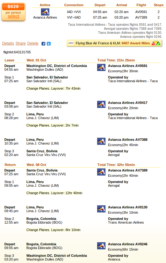 Washington to Santa Cruz flight deal details