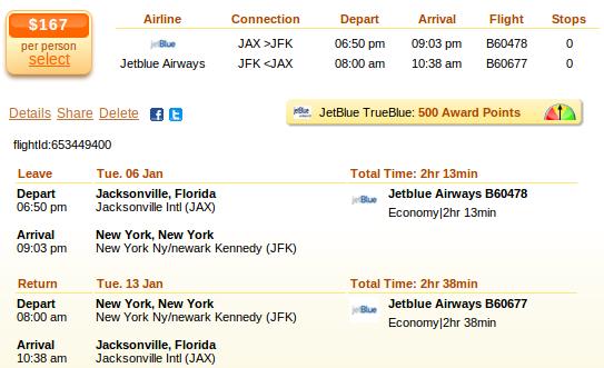 Flight deal - Jacksonville to New York City