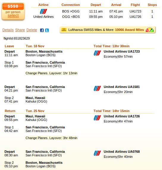 Boston to Maui airfare deal details