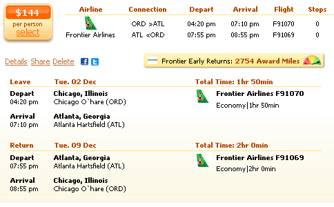 Airfare deal details - Chicago to Atlanta