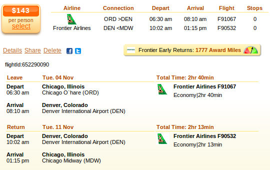 Chicago to Colorado Springs flight deal