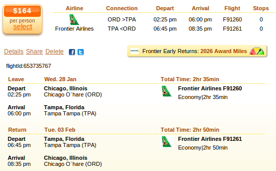 Chicago to Tampa airfare deal screenshot