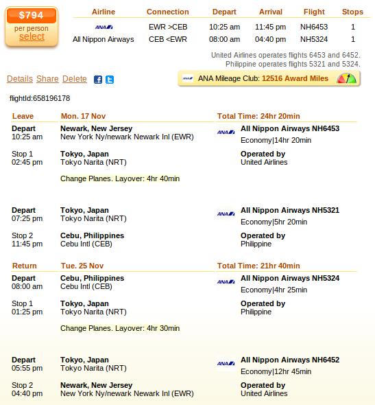 Newark to Cebu airfare deal screenshot