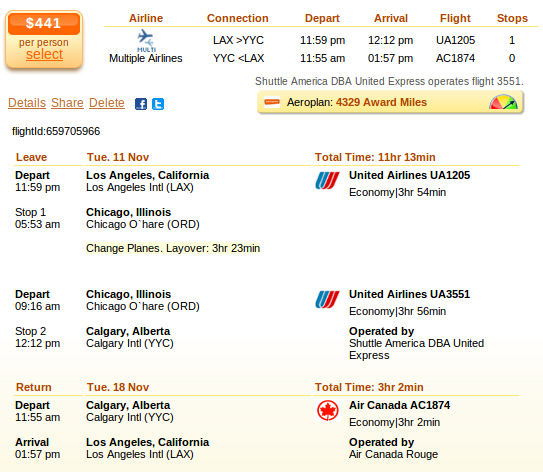 Los Angeles to Calgary airfare deal screenshot