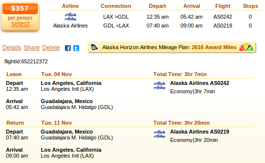 Los Angeles to Guadalajara airfare deal details