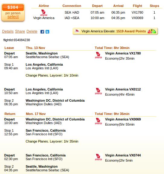 Seattle to New York flight deal screenshot