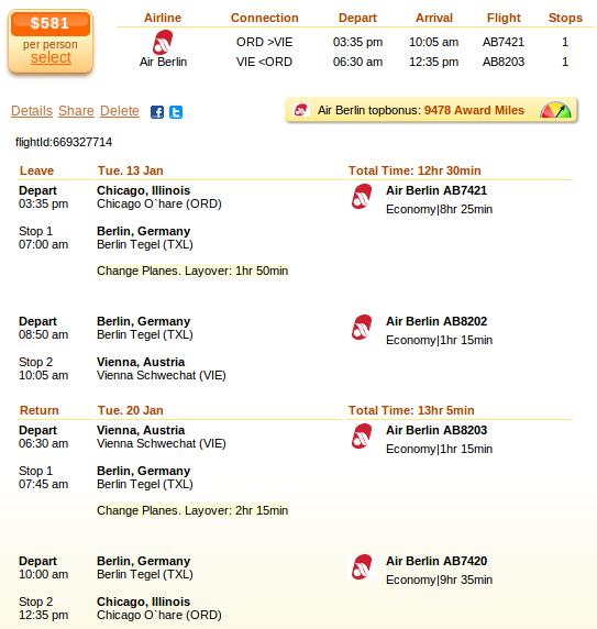 Flight deal screenshot - Chicago to Vienna