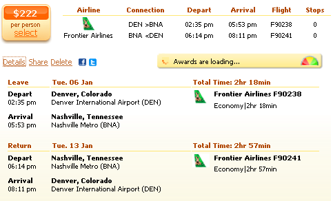 Flight deal from Denver to Nashville