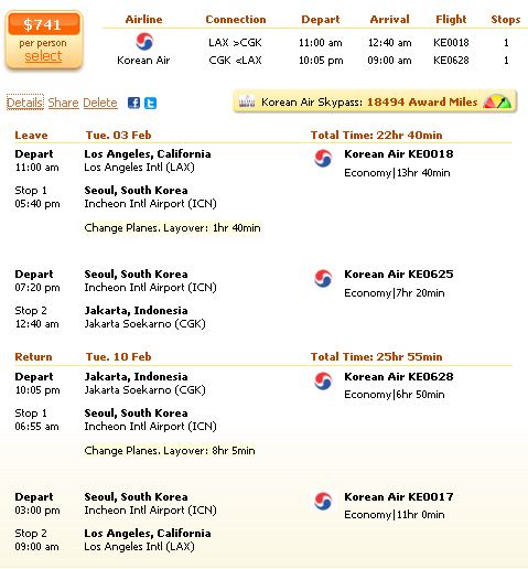 Flight deal screenshot - Los Angeles to Jakarta